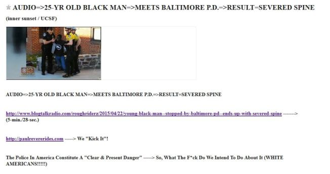 FREDDIE GRAY - 25-YR OLD BLACK MAN - MEETS BALTIMORE POLICE - SEVERED SPINE - TUMBLR VERSION