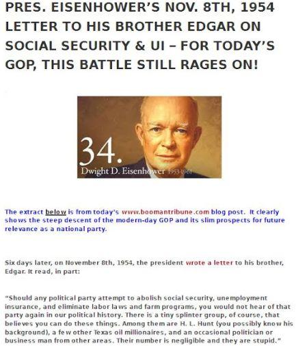 EISENHOWER --- ON SOCIAL SECURITY + UI --- 11-8-54 LETTER TO BRO EDGAR --- BIGGIE