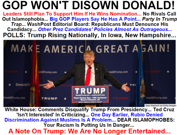 TRUMP --- GOP WILL NOT DISOWN TRUMP --- 12-8-15