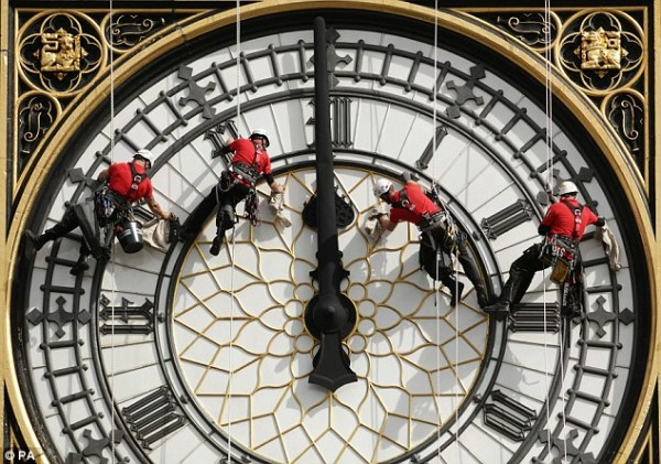 CLEANING CLOCK OF PARLIAMENT