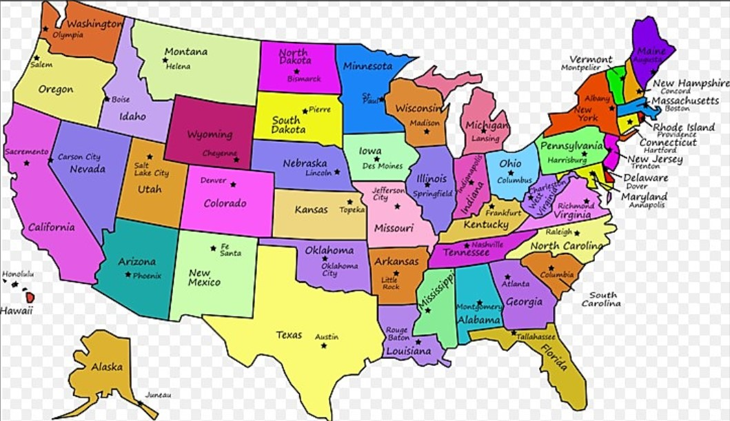 USA MAP COLORED NAMES OF STATES 3116 PaulRevereRides